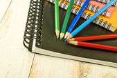 Image of a notebook and pencil — Stock Photo