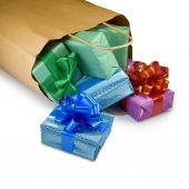 Gift boxes in a package on a white background — Stock Photo