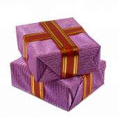 Two gift boxes on a white background closeup — Stock Photo