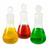 Flasks with reagents closeup — Stock Photo