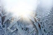 Winter frost on the window closeup — Stock Photo