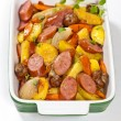 Roasted Sausages and vegetables — Stock Photo #56286895