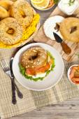 Delicious Smoked Salmon Bagel — ストック写真