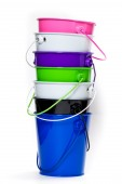 Colorful bucket stack — Stock Photo