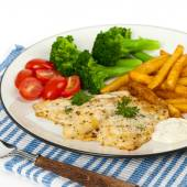 Dinner Plate with Grilled White Fish — Stock Photo