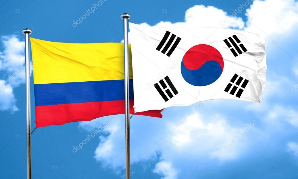 Bandera De Colombia Con La Bandera De Corea Del Sur