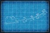 Blueprint Santa Claus sleight — Stock Photo