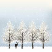 Holiday background with snowy trees and reindeer — Stock Vector