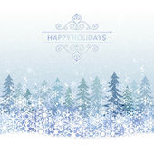 Winter Holiday background with blue snow scenery — Stock Vector