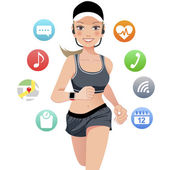 Health sport young woman running with smart watch device — Stock Vector