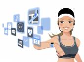 Fitness woman and smart watch device — Stock Vector