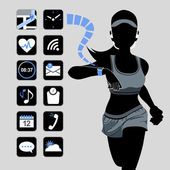 Smart watch concept - fitness woman and icons — Stock Vector