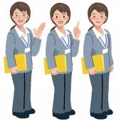 Geriatric care manager in different gestures — Stock Vector