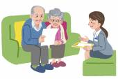 Elderly couple meeting with Geriatric care manager  — Stock Vector