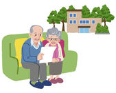 Senior couple planning to move their retirement home — Wektor stockowy