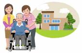 Happy elderly man in wheelchair with his family and nurse — Stock Vector