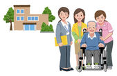 Smiling senior man in wheelchair with his daughter caregivers — Stock Vector