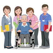 Smiling Senior man in wheelchair and nursing carers — Stock Vector
