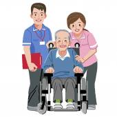 Portraits of happy elderly man in wheelchair and his nurses — Stock Vector
