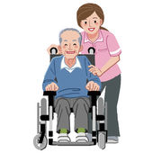 Portraits of happy elderly man in wheelchair and his nurse — Stock Vector