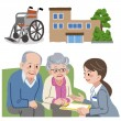 Elderly couple consults with Geriatric care manager. — Stock Vector #70249139