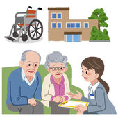 Elderly couple consults with Geriatric care manager. — Stock Vector