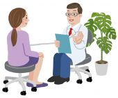 Doctor and his female patient at his office — Stock Vector