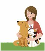 A woman looking up with furry friends — Stock Vector