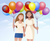 Female friend holding hands and balloons — Stock Vector