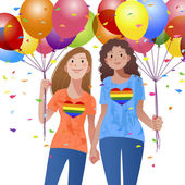 Lesbian couple holding hand each other and balloons — Stock Vector