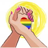Lesbian hand in hand  - LGBT concept — Stock Vector