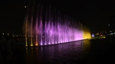 Färgade fontän på natten — Stockvideo