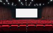 Empty movie theater with red seats — Stock Photo