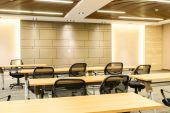 Conference room tables and chairs — Stock Photo