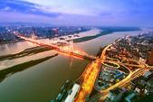 Scena notturna città di alto-altezza — Foto Stock