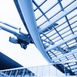 The airplane with the city scene background — Stock Photo #60980757