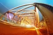 Night traffic lights inside of the  Waibaidu Bridge of shanghai  — ストック写真