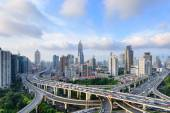 Shanghai elevated road junction and interchange overpass at night — Stock Photo