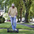 Middle-aged man mowing the lawn — Stock Photo #52029847