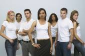 Group of young people looking serious — Stock Photo