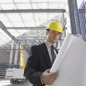 Businessman in hardhat looking at blueprints — Stock Photo