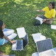 Multi-ethnic college students studying in grass — Stock Photo #52031123