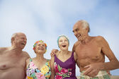 Group of seniors in bathing suits — Stock Photo