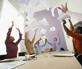 Businesspeople cheering at meeting — Stock Photo