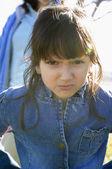 Hispanic girl looking angry — Stock Photo