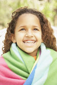 African American girl smiling with braces — Stock Photo