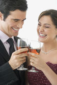Couple toasting with wine glasses — Fotografia Stock