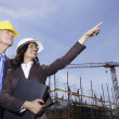 Businesswoman and businessman wearing hard hats at construction site — Stock Photo #52040199
