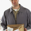 Man holding crushed package marked Fragile — Stock Photo #52040205