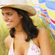 Woman wearing bikini top and straw hat — Stock Photo #52040611